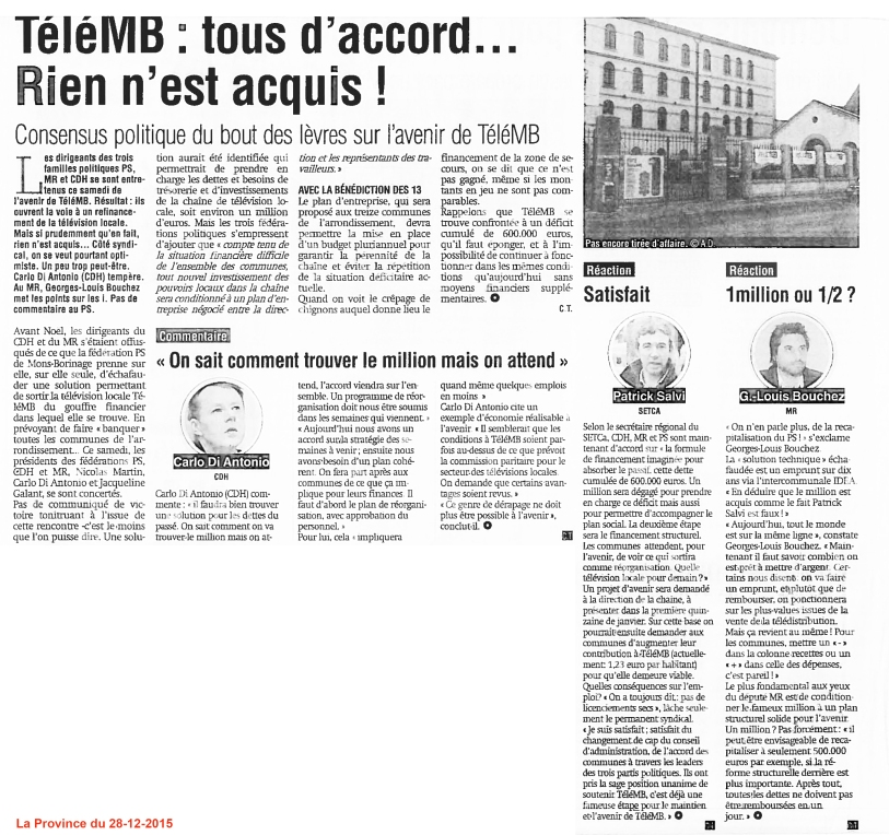 LaProvince-TéléMB 2015-12