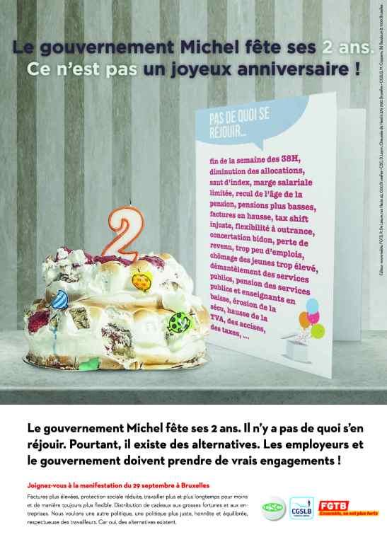 Affiche le gouvernement Michel a 2 ans